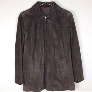 COACH chocolate brown suede car coat